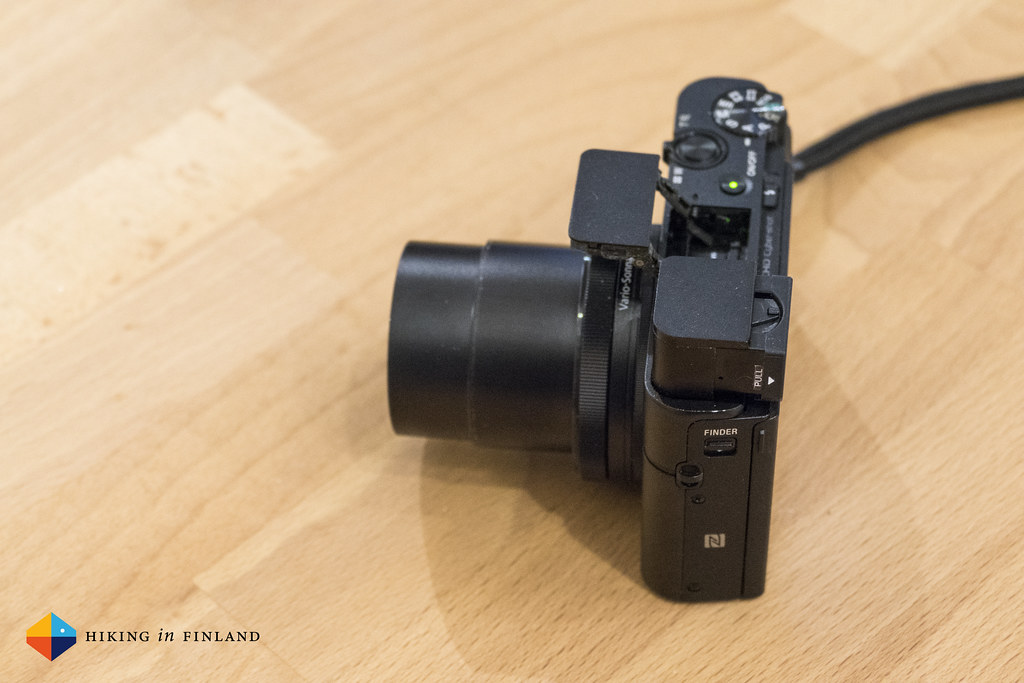Sony RX100III with Flash open and EVF on