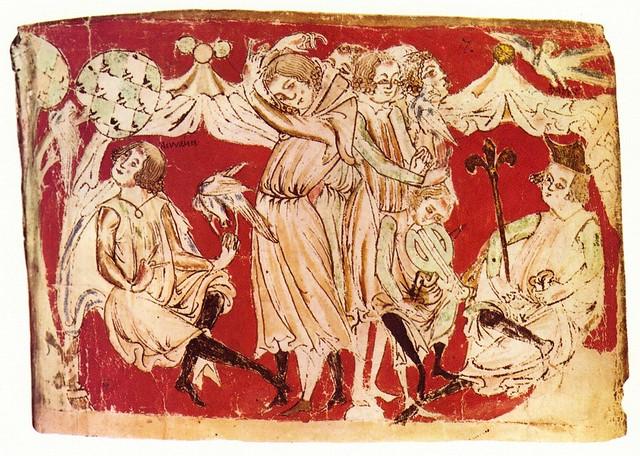 Scene depicting King Marke's spring celebration from Gottfried von Strassburg's transcription of the legend of Tristan und Isolde, vellum c1240, Bayerische Staatsbibliothek
