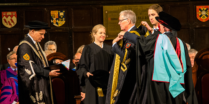 The Installation of Queen's 14th Chancellor, Jim Leech, at fall convocation in Grant Hall. (Photo: Todd Muller)