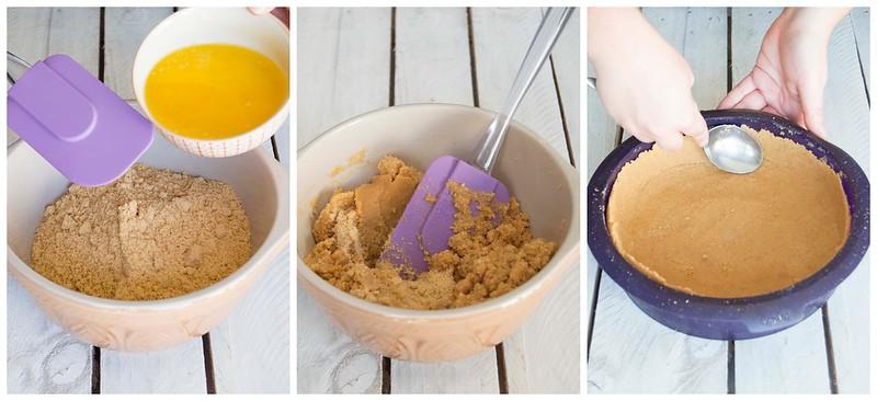 Cheesecake de boniato y palomitas