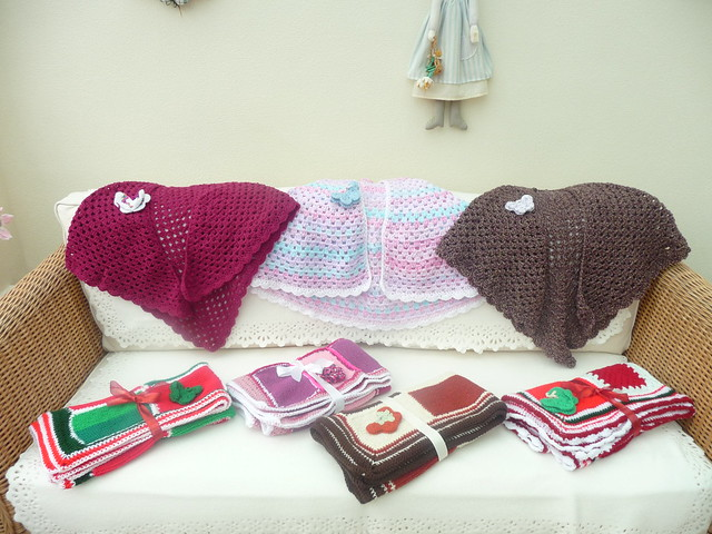 Shawls made by Jill. Blankets assembled by Jayne, Squares made by Linda 'Chalky's World'.