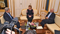 U.S. Secretary of State John Kerry, joined by Baroness Catherine Ashton of the European Union, speaks with Foreign Minister Javad Zarif of Iran in Vienna, Austria, on November 21, 2014, before beginning their fourth three-way discussion about the future of Iran's nuclear program. [State Department photo/ Public Domain]