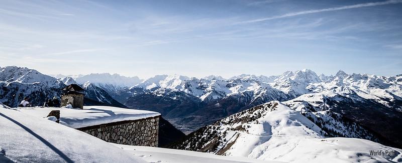 Snowboard Monginevro vista dall'arrivo Gondrans
