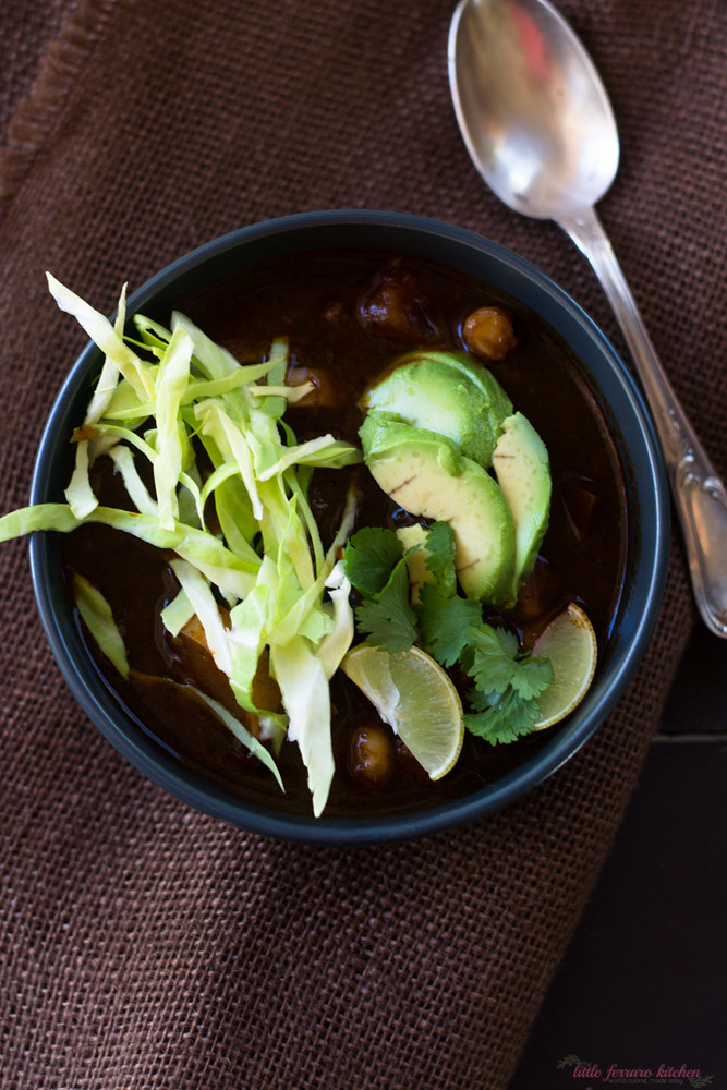 Vegetarian Red Pozole via LittleFerraroKitchen.com