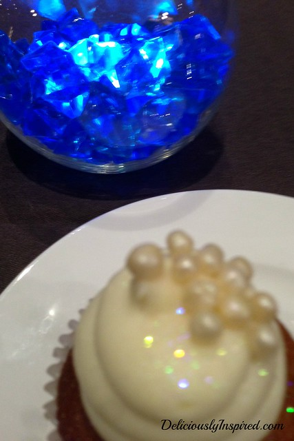 Blue Centerpiece and Cupcake