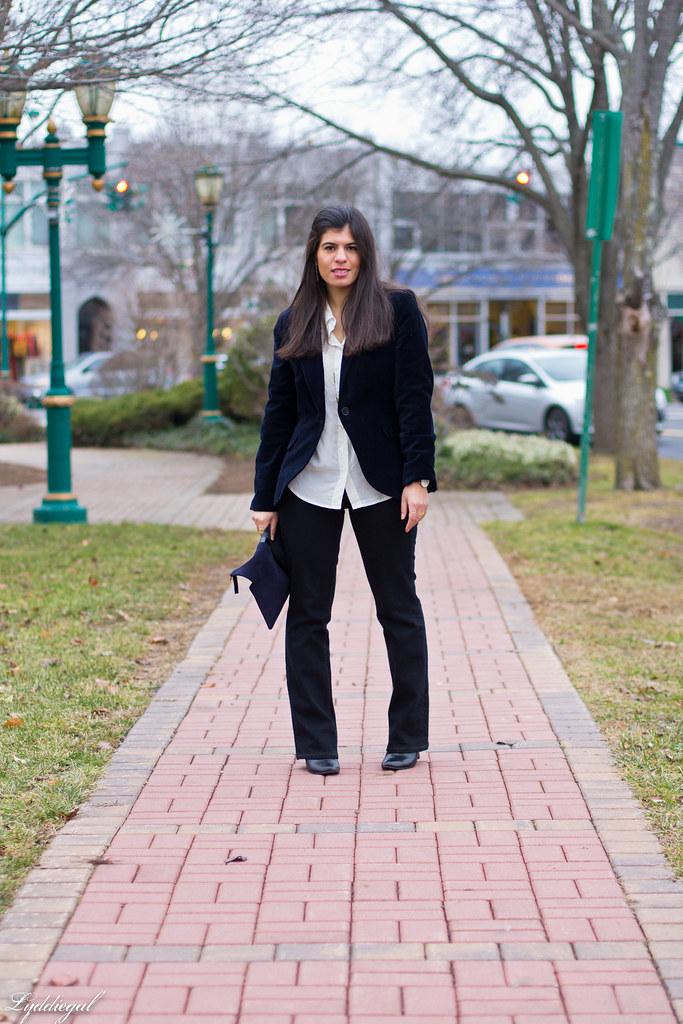 velvet blazer, flared jeans, white blouse.jpg