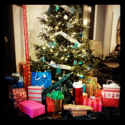 We're about to start our white elephant gift exchange at Deskey...