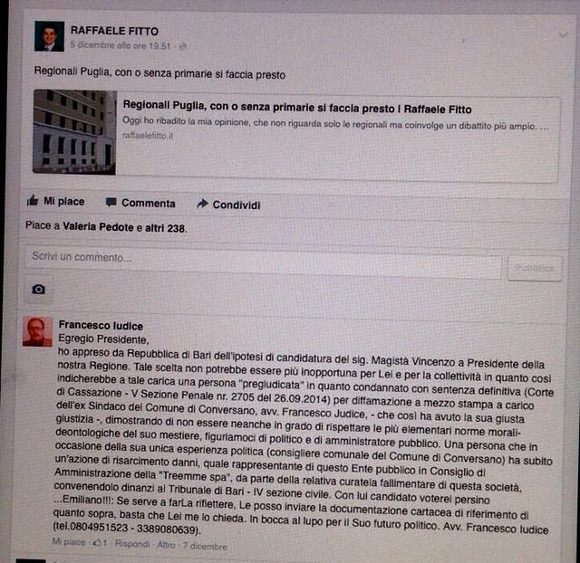 Il post di Iudice sulla pagina facebook di Fitto
