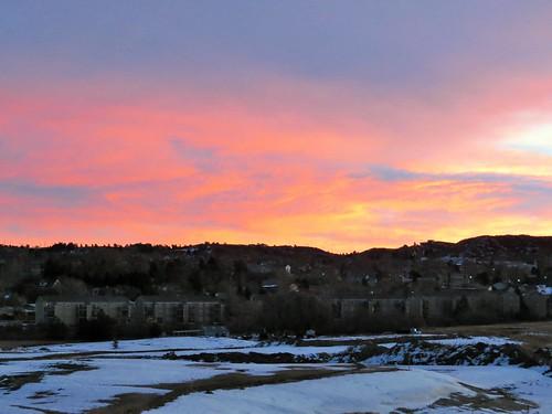 snow sunrise colorado castlerockcolorado