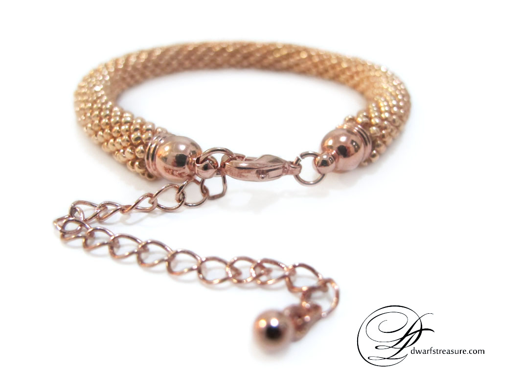 Unique rose gold beaded crochet bracelet