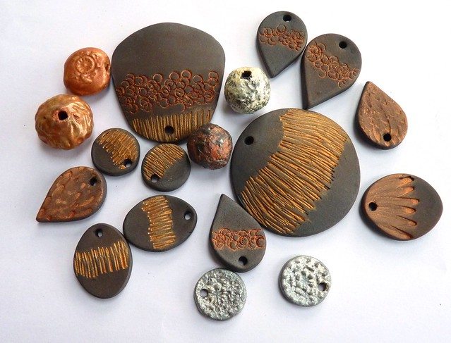 black porcelain beads and pendants