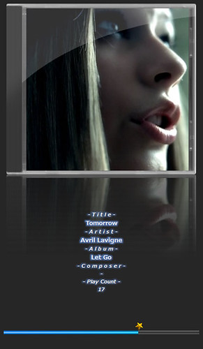 """Avril Lavigne-4 音楽再生ソフトウェアのfoobar2000のスクリーンショット画像。 """"Avril Lavigne"""" さんのアルバムである""""Let Go"""" の """"Tomorrow"""" が再生されている。"""