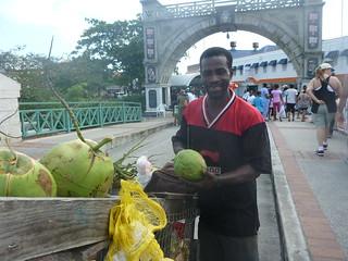 A genial coconut-seller.