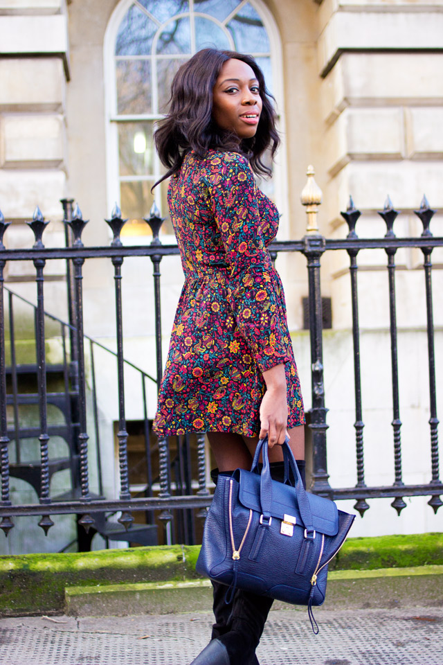 70s style dress with 3.1 Phillip Lim Pashli bag