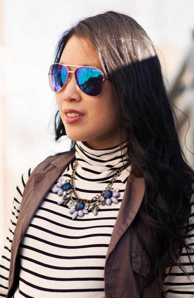 https://cuteandlittle.com | petite fashion blog | maternity | blue mirrored aviators, striped turtleneck, military utility vest | outfit