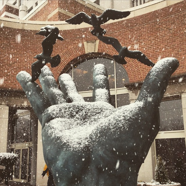 Snow on the giant hand at @noaa Building 3 #dtss #igdc #snow