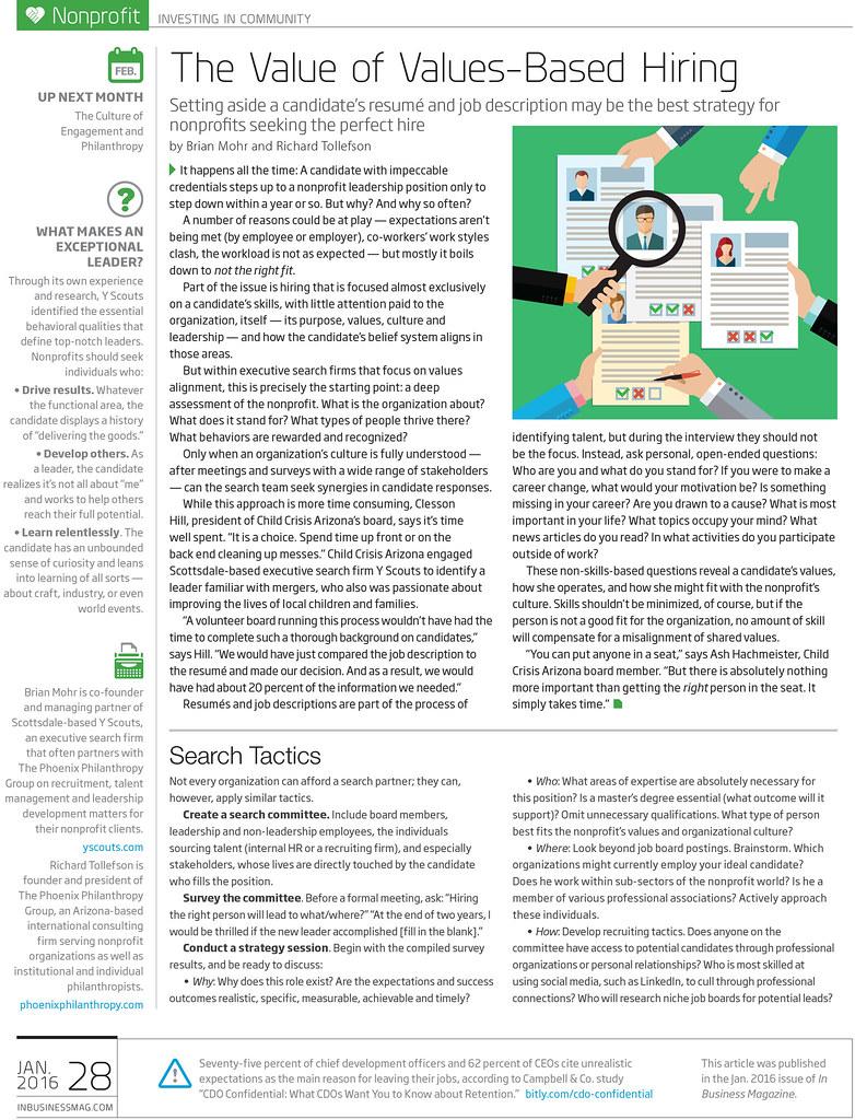 Values Based Hiring Article In InBusiness Magazine
