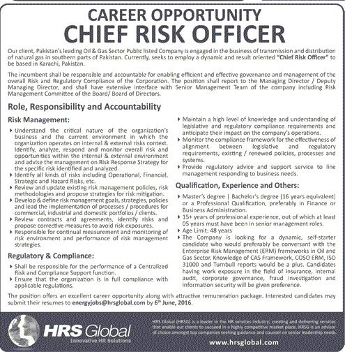 HRS Global Chief Risk Officier Required