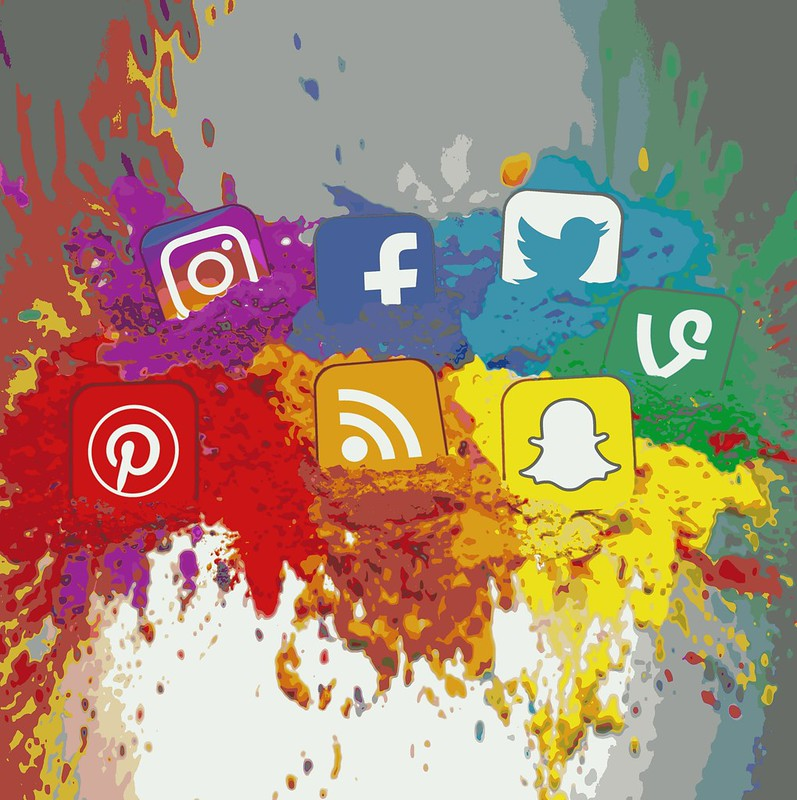 Social Media Icons Color Splash Montage - Square