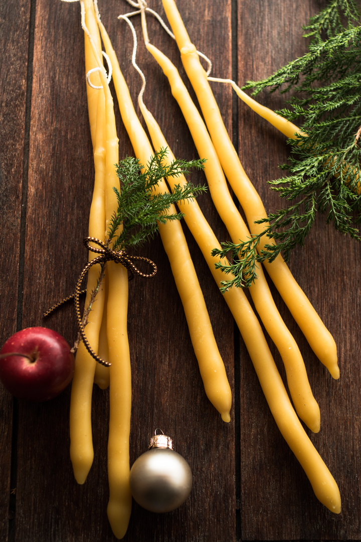 Taper beeswax candles 141207-2