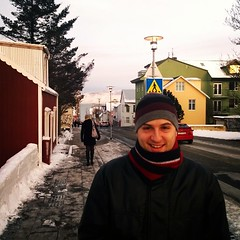 Brrrrr... Overlooking the town, waterfront and mountains outside of Reykjavik