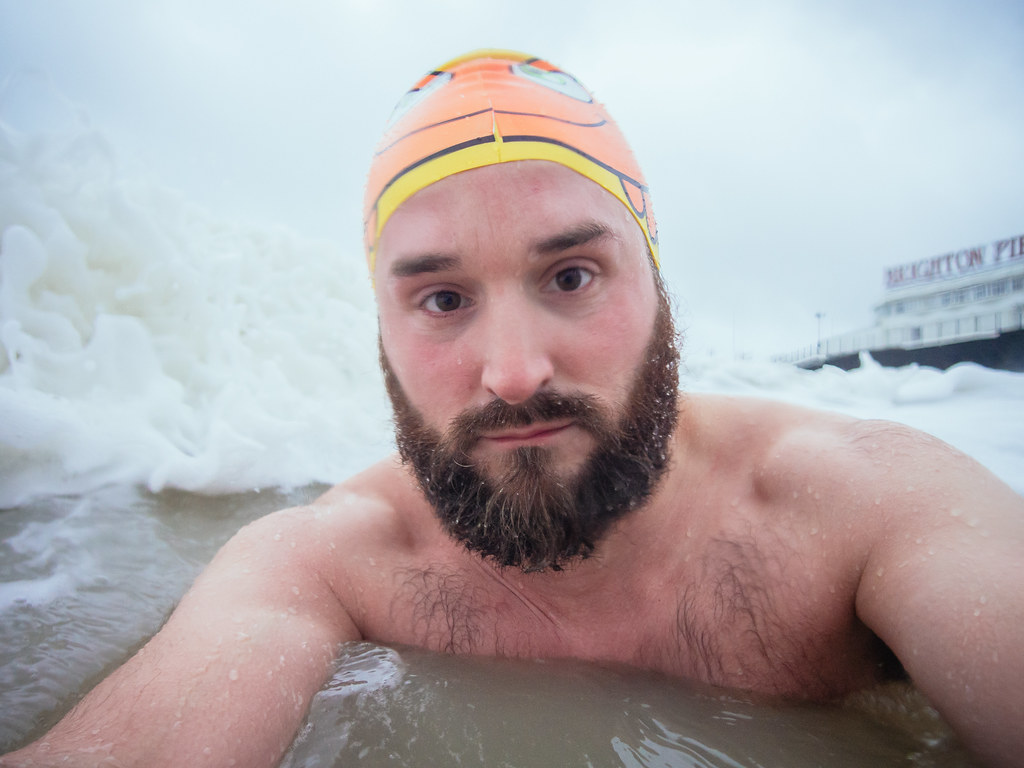 Winter swimming self portrait