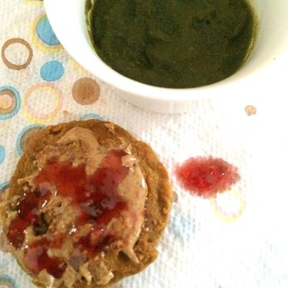 Green sludge and muffin