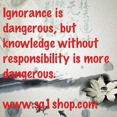 Ignorance is dangerous, but knowledge without responsibility is more dangerous. #money #marketsingapore #ecommerce #entrepreneur