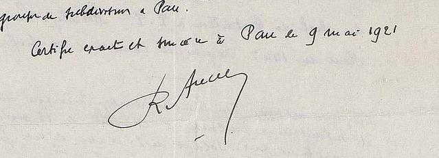 Firma de René Ancely en 1921
