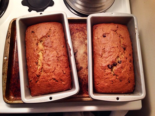 Husband made his famous delicious banana bread (with chocolate chips) today, yay!