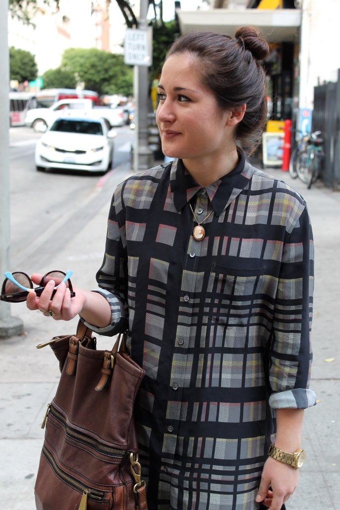fall outfit with plaid Equipment blouse
