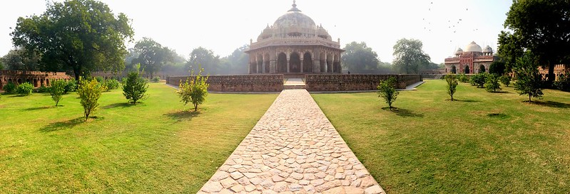 Panorama of Isa Khan's mosque and tomb, at Humayun's Tomb