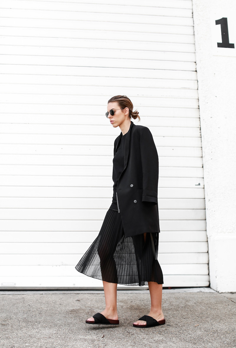 MODERN LEGACY Celine slide sandals all black street style pleated sheer split skirt Bassike tank fashion blog Australia (2 of 13)