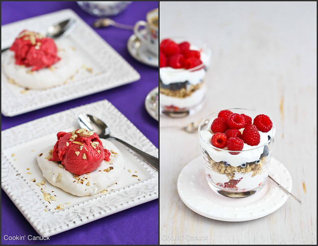 Almond Meringue With Raspberry Sorbet Recipe — Dishmaps