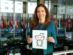 Assistant Secretary of State for Educational and Cultural Affairs Evan Ryan smiles for her Reddit proof in advance of her Reddit Ask Me Anything (AMA), at the U.S. Department of State in Washington, D.C., on November 21, 2014. [State Department photo/ Public Domain]