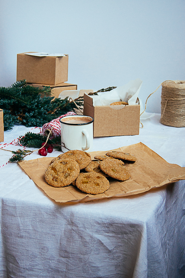 Ginger Molasses Cookies with Candied Orange Peels