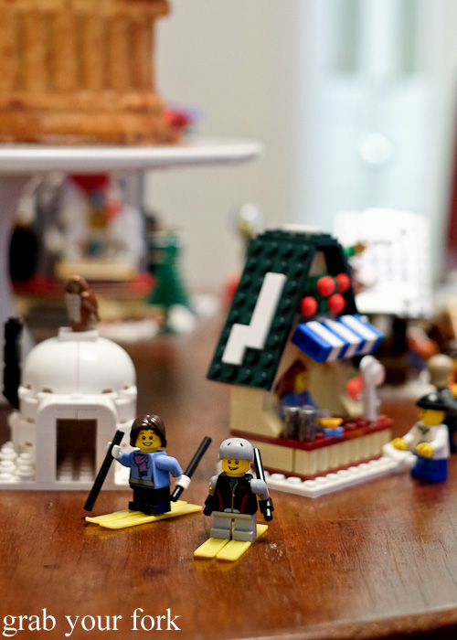 Lego winter skiers at the Stomachs Eleven Christmas dinner 2014
