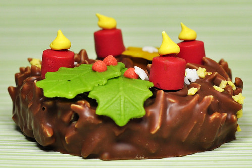 Advent Adventskranz Schokolade Marzipan Schweiz Schweizer Schokoladenkunst Foto Brigitte Stolle