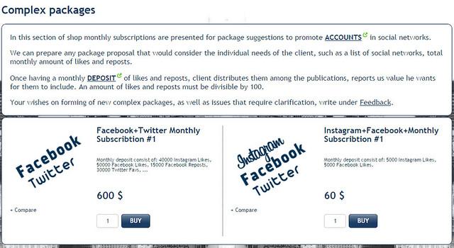 Social media sell in package