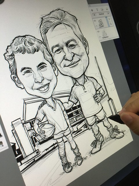 digital Rugby Club caricatures of Father and Son