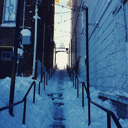 Snowy alley stairs #EastAurora #wny