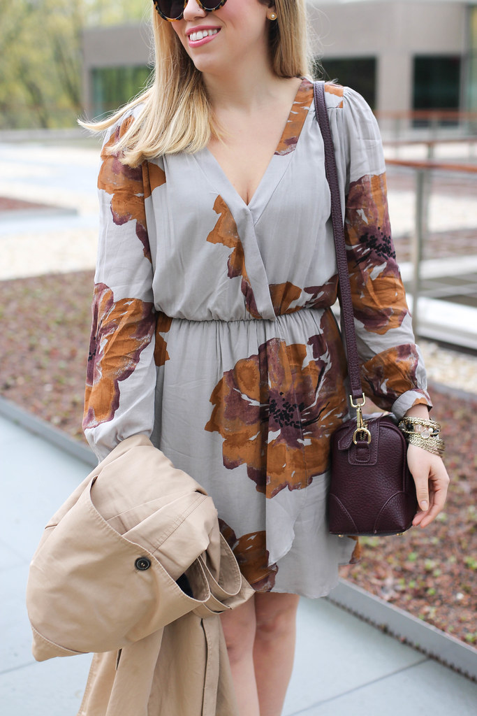 What To Wear To Mother's Day Brunch | Spring Neutral Floral Dress | Zara Trench Coat | Nude Sandals on Living After Midnite by Jackie Giardina