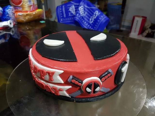 DeadPool Theme Birthday Cake by Marissa Olorga - Abanales of Purple Heart Cakes