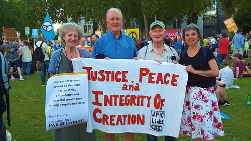 Margaret Healy SSL, Fr Joe Ryan, PP West Green Parish, London, Fr Aodh O'Halpin SSC, and Pat Gaffney, Gen. Sec. Pax Christi at the Trident Nuclear Programme protest