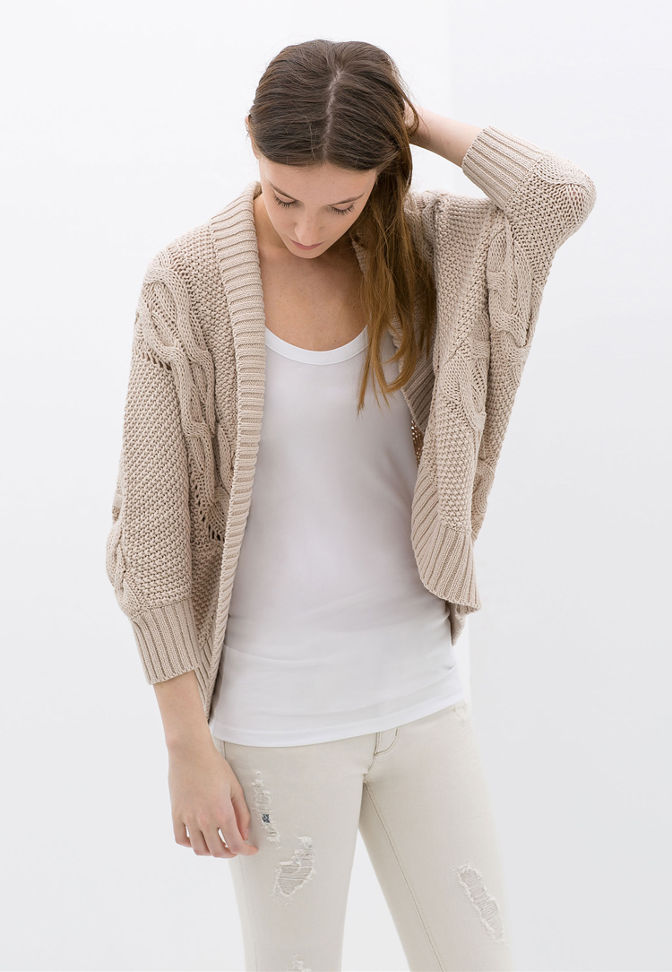 ZARA CABLE KNIT WRAPAROUND CARDIGAN