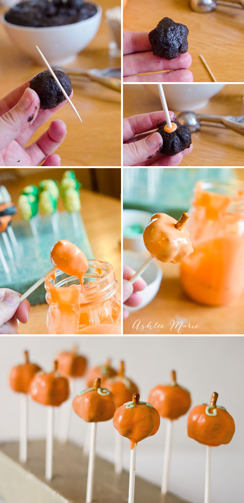 how to easily create pumpkin shaped pops