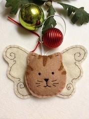 Cute Kitty Angel Ornament - Tabby