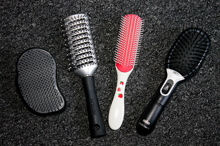 Hairbrushes For Every Occasion: Tangleteezer, Revlon Velvet Touch Vent Brush, Denman Strawberry Shortcake Fragranced Brush and Braun Satin 7 Iontec Brush