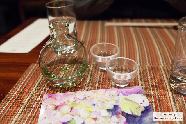 Our carafe and glasses of Yoshinogawa Ginjo sake
