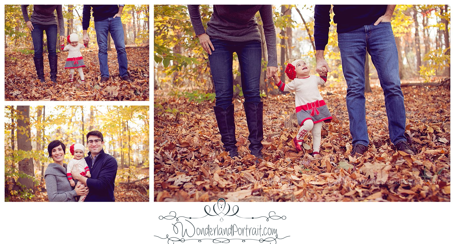 Newtown Bucks County PA  Family Photography Fall Leaves First Birthday Wonderland Portrait Boutique